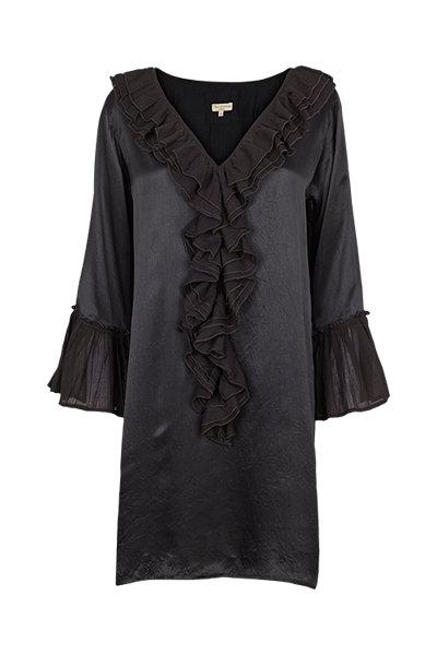 2256L - 100% Silk dress w.frill - Black