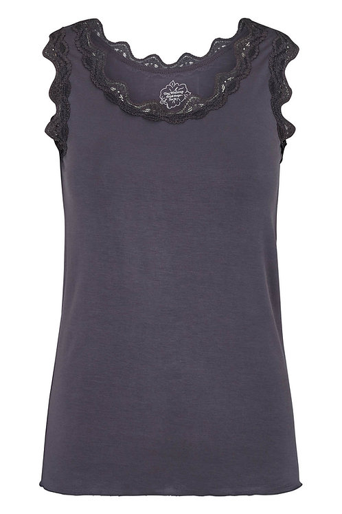 3663K - Top with lace - Granit