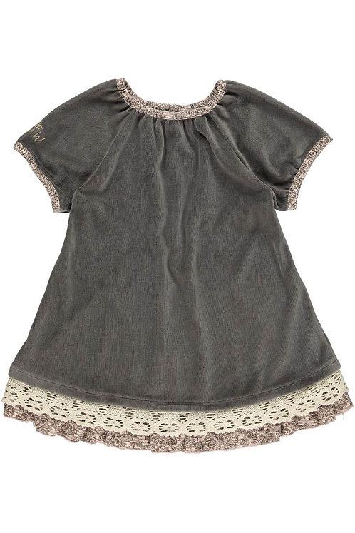 2518J - Velvet dress w.lace - Mocha