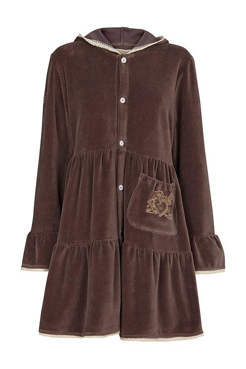 2509J - Velvet coat w.hood - Mocha