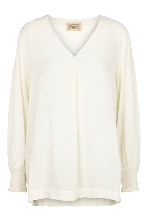 3601B - Shirt w.V neck - Off.White