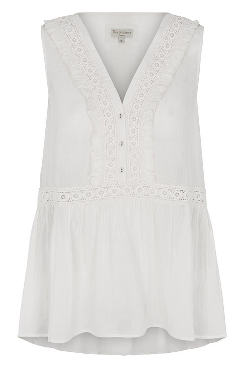 3809B - Gauge Top w.lace - Off-white