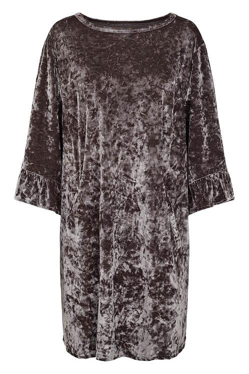 3643K - Silky velvet dress - Granit blue