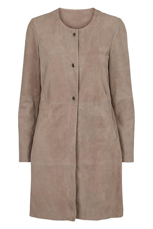 3618J - Coat Suede - Warm grey