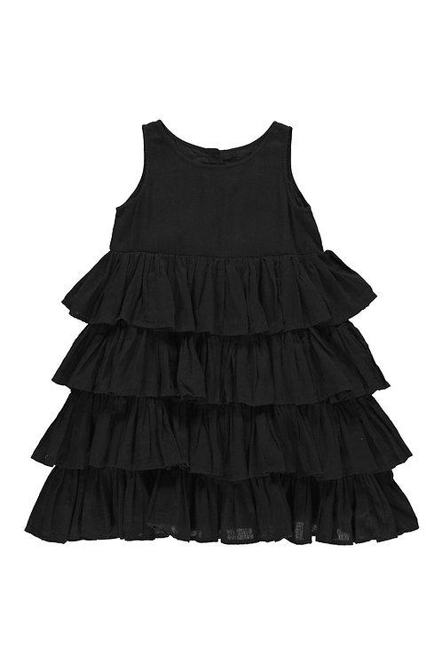 3827L - Frill dress - Black