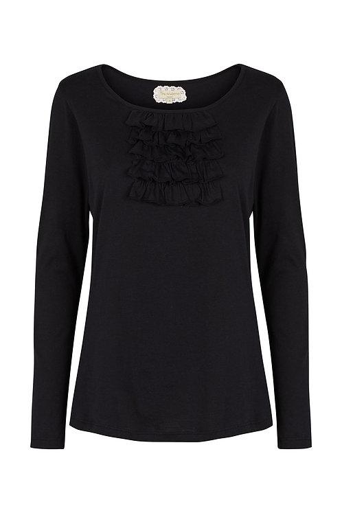 2565L - T-shirt w.frill - Black