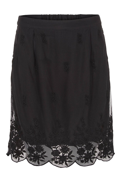 2922L - Skirt w.nets lace - Black