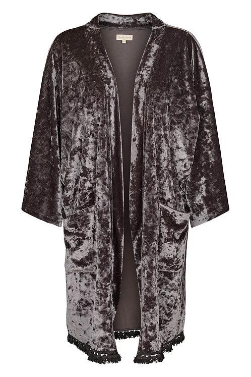 3645K - Silky velvet Kimono - Granit blue