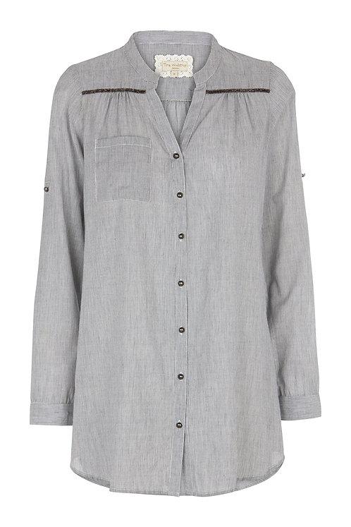 2555F - Stripe Shirt w.pearls - Blue stripe