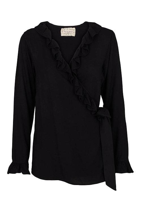 3602L - Wrap around shirt - Black