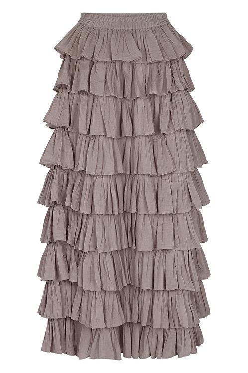 3804J - Long frill skirt - Mink