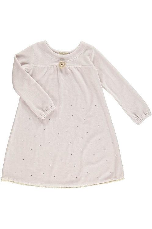 2519D - Velvet dress w.diamonds - Pail purple