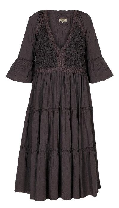 239D - Bomulds kjole - Warm grey