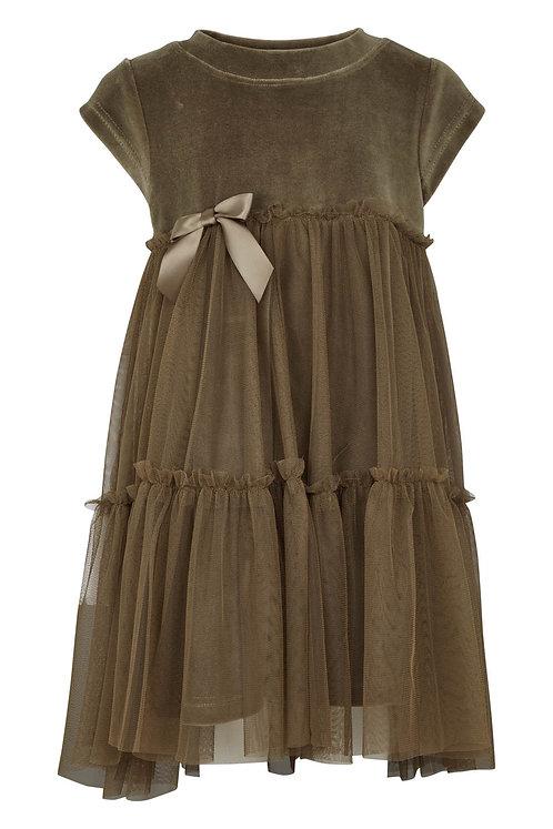 Velvet Dress w.tulle - Olive