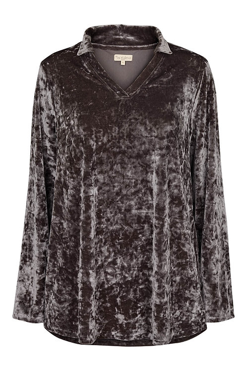 3644K - Silky velvet shirt - Granit blue