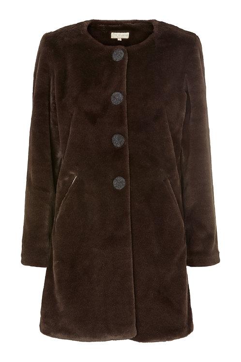 2482B - Faux fure coat - Dark grey