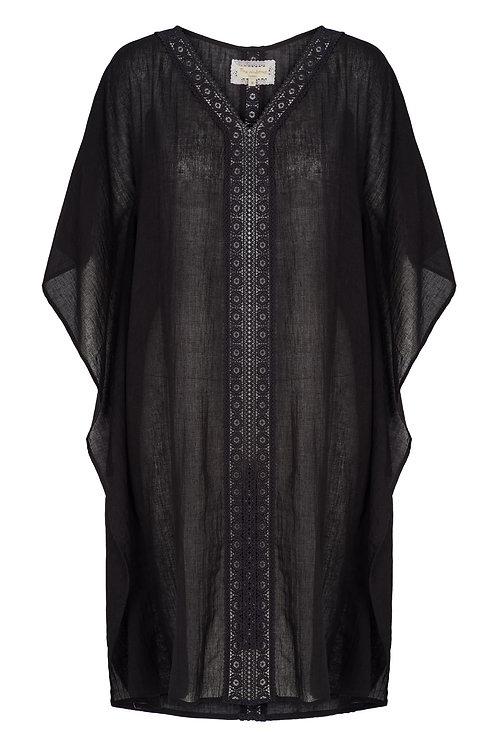 3807L - Kaftan w.lace - Black