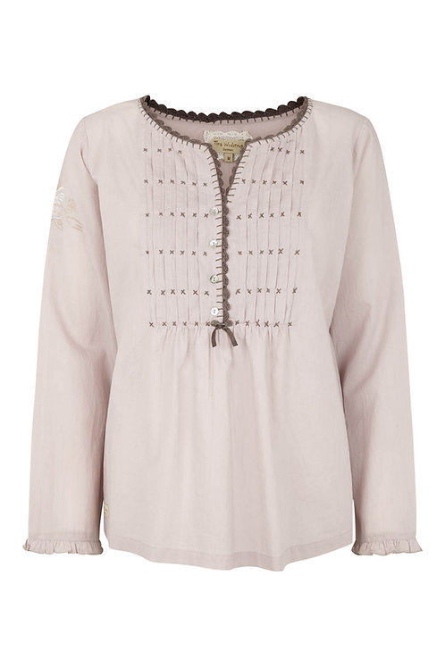3370D - Shirt w.crochet - Pail purple