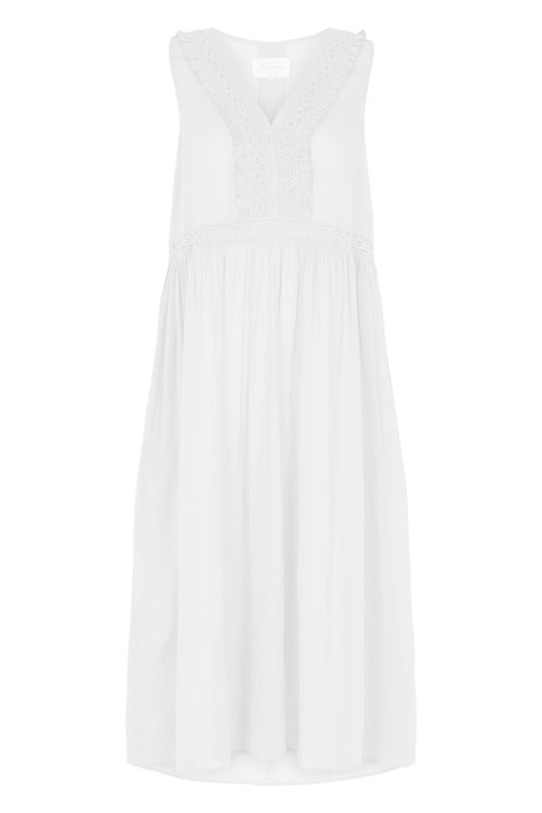 3810B-1- Long dress w.lace - Off-white