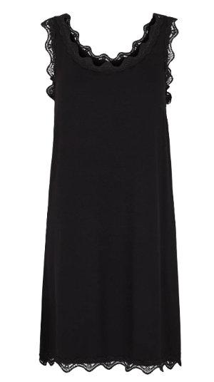 3788L - Long top w.lace - Black