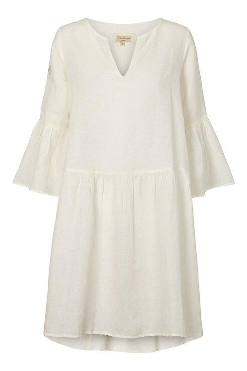 3709B - Linen dress w.frill - Off.White