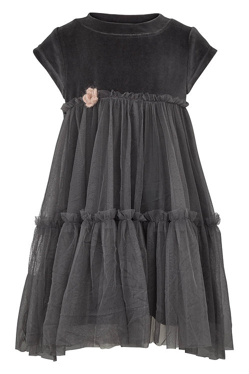 3453L - Velvet Dress w.tulle - Dark shadow