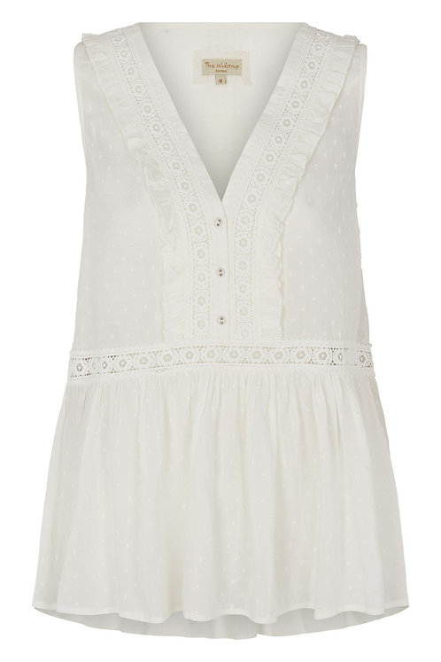 3809B - Dobby Top w.lace - Off-white