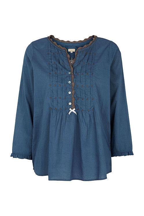 2602G - Shirt w.crochet - Blue