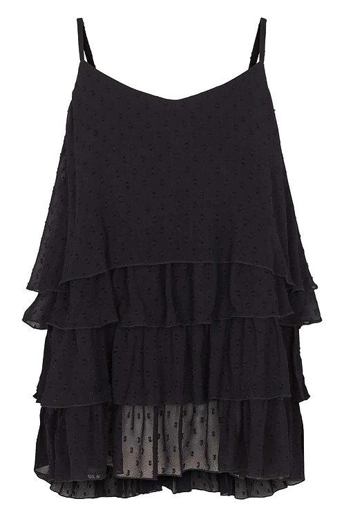 3782L - Georgette frill top - Black
