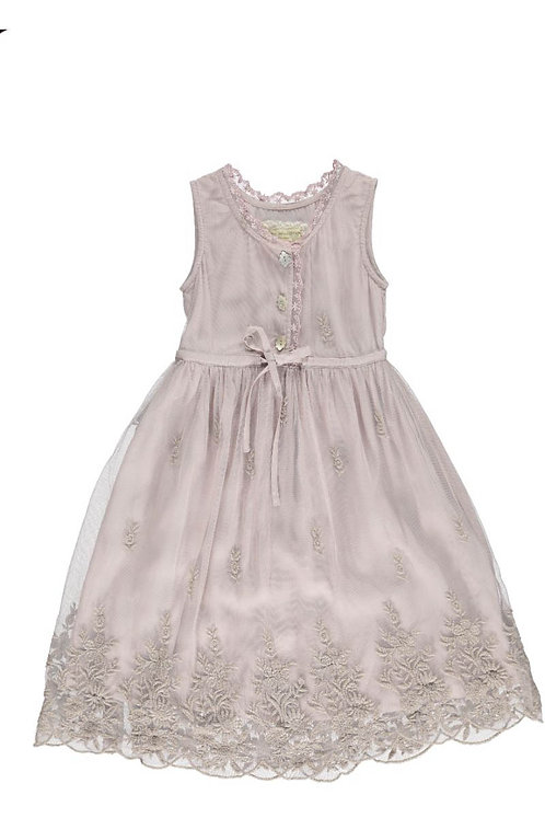 2558D - Dress w.emb nets - Pail purple