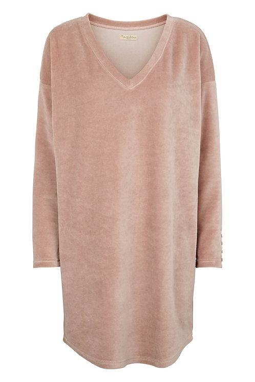 3431C - Velvet V blouse - Rosa