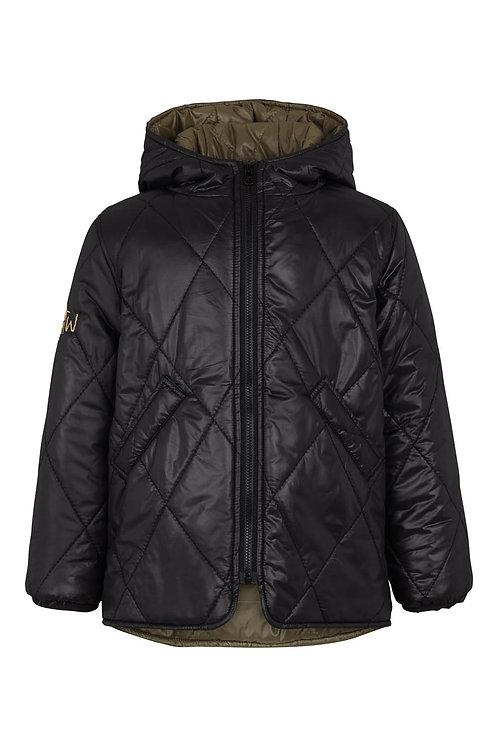 3422L - Quiltet coat w.hood - Black