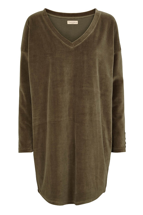 3431J - Velvet V blouse - Olive