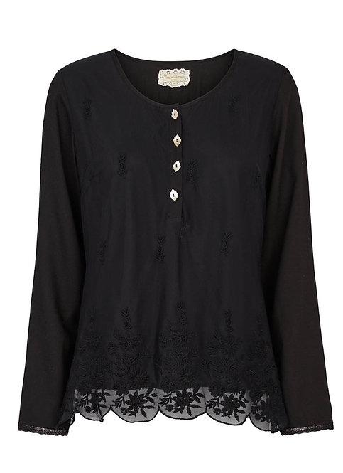 2926L - Shirt w.nets lace - Black