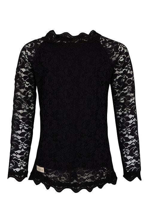 3458L - Lace Blouse - Black