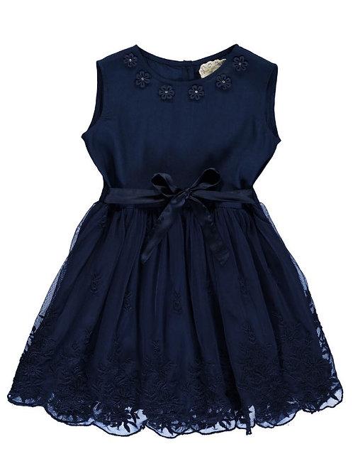 2923G - Dress w.lace - Blue