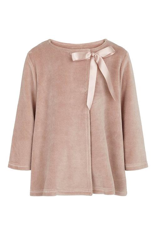Velvet Jacket w.ribbon - Rosa