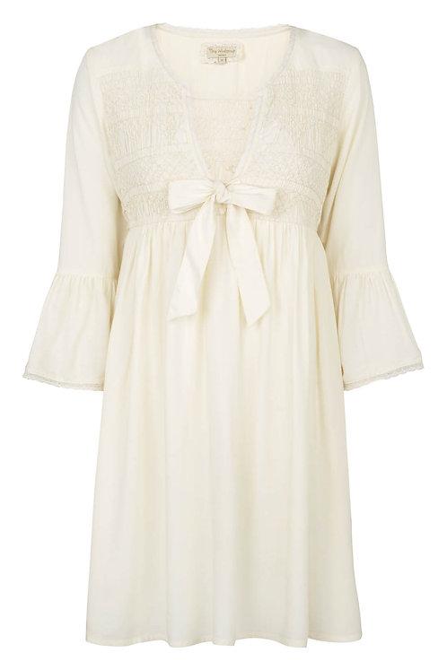 2916B - Dress w.smock - Off-white
