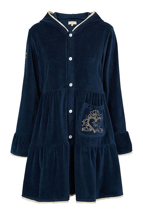2509G - Velvet coat w.hood - Midnight blue