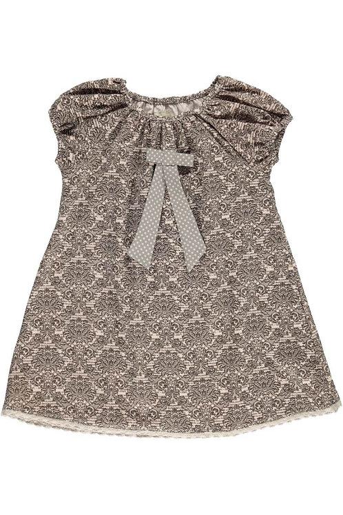 2528B - Dress w.bow - Print