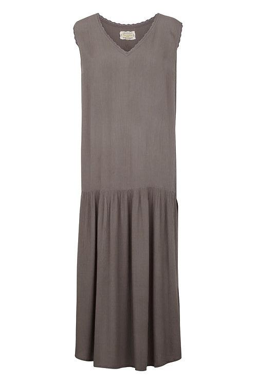 Viscose crepe dress- Silk mink