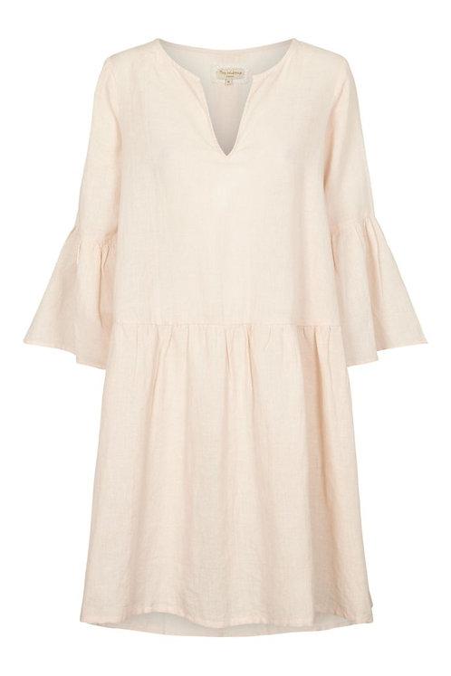 3709C - Linen dress w.frill - Mauve