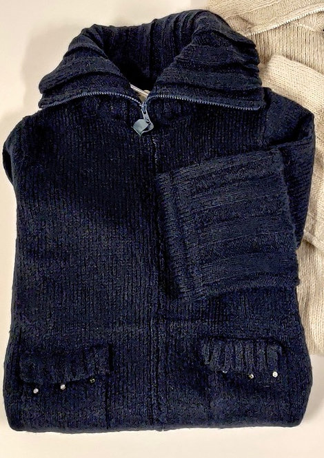 Strik frakke - Mørkeblå