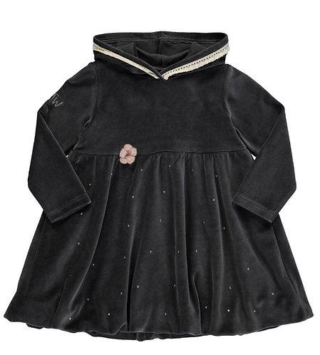 2847K - Velvet hood dress - Granit grey