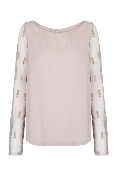 2553D - Shirt w.lace nets sleeves - Pail purple