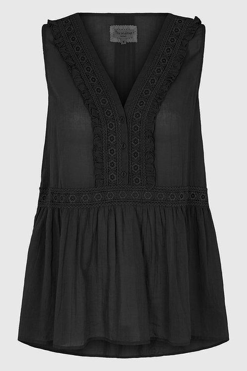 3809L-1- Gauge Top w.lace - Black