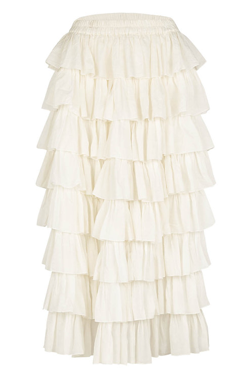 3804B - Long frill skirt - Off.White