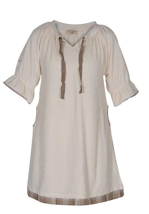 1560A - Velvet dress - Creme