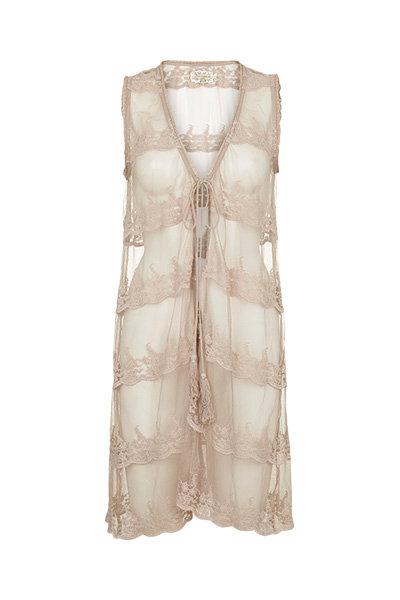 2296B - Lace waist coat - Beige