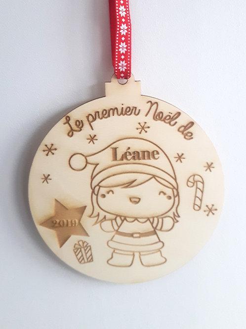 Boule de Noël en bois - Mère Noël